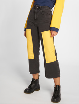 The Ragged Priest Scrap High Waist Jeans Charcoal/Yellow