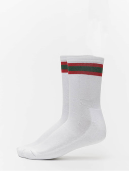 Urban Classics 2-Pack Stripy Sport Socks Black/Fire Red/Green
