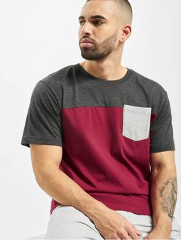 Urban Classics 3-Tone Pocket T-Shirt Burgundy/Charcoal