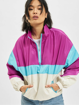 Urban Classics 3-Tone Stand Up Collar Pull Over Jacket White/Firered/Brightblue