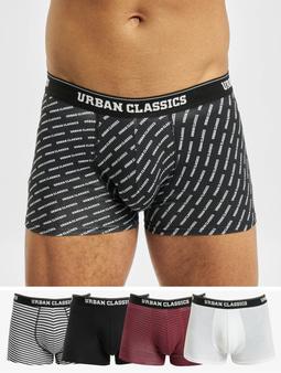 Urban Classics Boxer Shorts 5-Pack Burgundy/Darkblue+White/Black+White+AOP+Black Burgundy