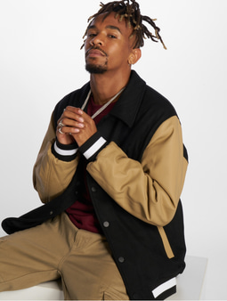 Urban Classics Collar College Jacket Black/Beige