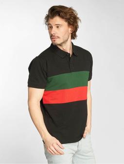 Urban Classics Color Block Panel Poloshirt Black/Green/Fire Red
