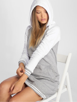 Urban Classics Contrast College Hooded Dress White/Black