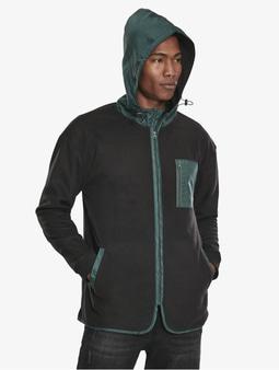 Urban Classics Contrast Polar Fleece Zip Hoody Black/Bottlegreen