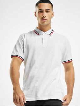 Urban Classics Double Stripe Poloshirt White/Navy/Fire Red