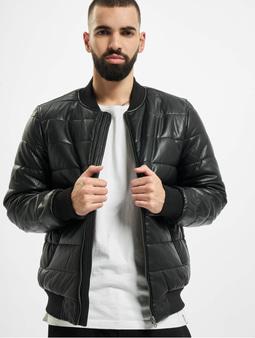 Urban Classics Faux Leather Bubble Bomber Jacket Black