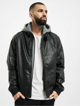 Urban Classics Fleece Hooded Fake Leather Jacket Black/Grey
