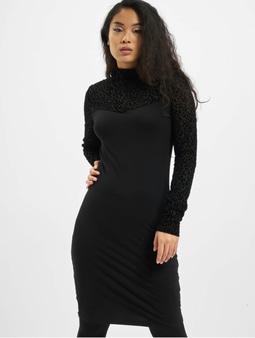 Urban Classics Flock Lace Turtle Neck Dress Black