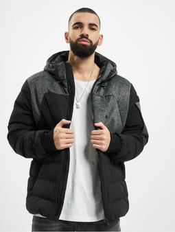 Urban Classics Hooded Tech Bubble Winter Jacket Black/Grey
