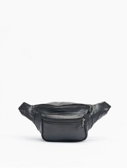 Urban Classics Imitation Leather Double Zip Shoulder Bag Black