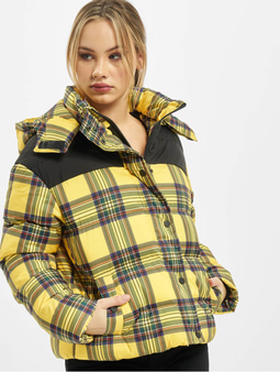 Urban Classics Ladies AOP 2-Tone Puffer Jacket Brightyellow/Black