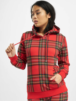 Urban Classics Ladies AOP Tartan Hoody Red/Black