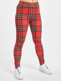 Urban Classics Ladies AOP Tartan Leggings Red/Black