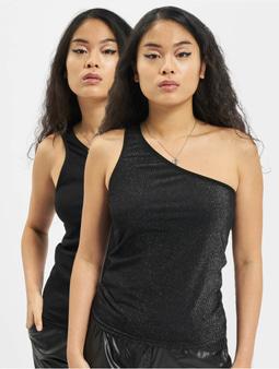 Urban Classics Ladies Asymetric Lurex 2 Pack Top Silvern/Black