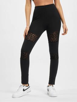 Urban Classics Ladies Flock Lace Inset Leggings Black