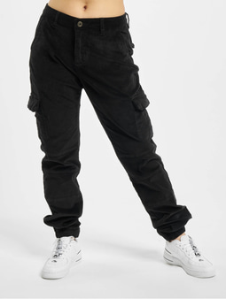 Urban Classics Ladies High Waist Cargo Corduroy Pants Black