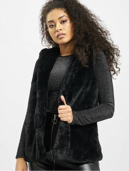 Urban Classics Ladies Hooded Faux Fur Vest Black