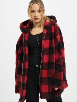 Urban Classics Ladies Hooded Oversized Check Sherpa Jacket Firered/Black