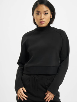Urban Classics Ladies Interlock Short Turtleneck Crew Longsleeve Black