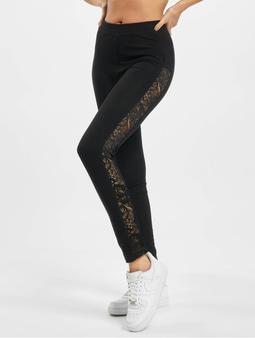 Urban Classics Ladies Lace Striped Leggings Black