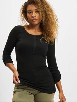 Urban Classics Ladies Long Rib Pocket Turnup T-Shirt Black
