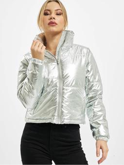 Urban Classics Ladies Metalic Puffer Jacket Silvern