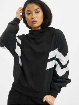 Urban Classics Ladies Mix Crinkle Nylon Sweat Hoody Black/White