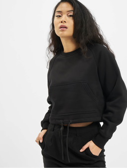 Urban Classics Ladies Oversized Short Raglan Crew Longsleeve Black