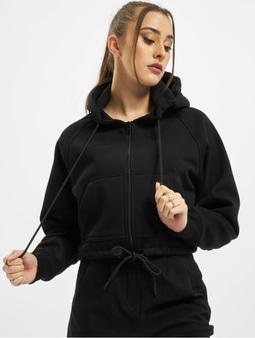 Urban Classics Ladies Oversized Short Raglan Zip Hoody Black