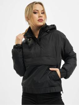 Urban Classics Ladies Panel Padded Pull Over Jacket Black