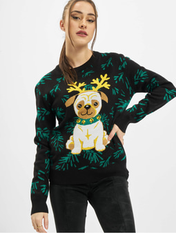 Urban Classics Ladies Pug Christmas Sweater Black