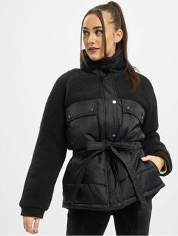 Urban Classics Ladies Sherpa Mix Puffer Jacket Black