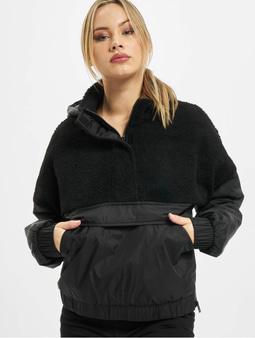 Urban Classics Ladies Sherpa Mix Pull Over Winter Jacket Black/Black