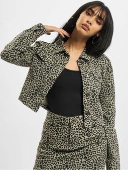 Urban Classics Ladies Short AOP Twill Jacket Grey Leo