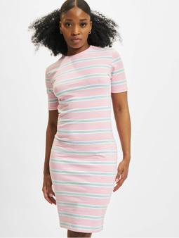 Urban Classics Ladies Stretch Stripe Dress White/Black