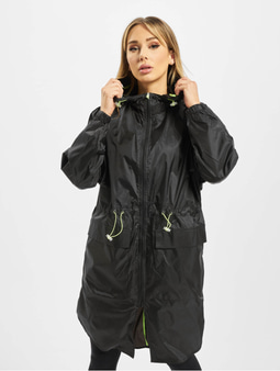Urban Classics Ladies Transparent Light Coat Black/Electric Lime