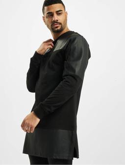 Urban Classics Leather Imitation Block Longsleeve Black/Black