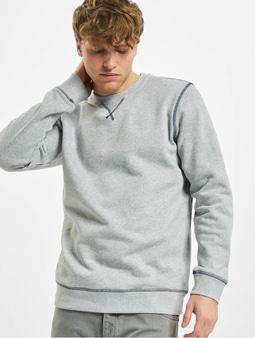 Urban Classics Organic Contrast Flatlock Stitched Sweatshirt Grey/Darkblue