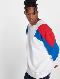 Urban Classics Oversize 3-Tone Sweatshirt Sand/Fire Red/Bright Blue