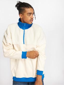 Urban Classics Oversize Sherpa Troyer Sweatshirt Sand/Off White/Bright Blue