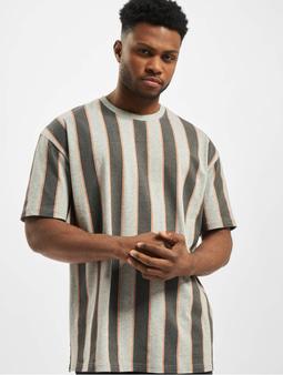 Urban Classics Printed Oversized Bold Stripe T-Shirt Vintage Blue