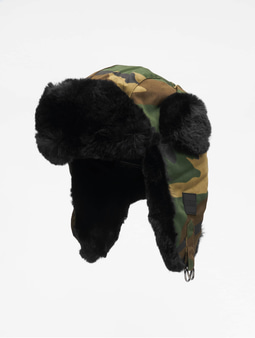 Urban Classics Printed Trapper Hat Beanie Wood Camo
