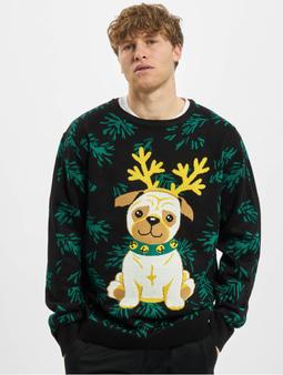 Urban Classics Pug Christmas Sweater Black