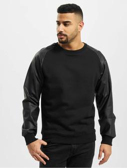 Urban Classics Raglan Leather Imitation Sweatshirt Black/Black