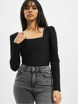 Urban Classics Rib Puffer Sleeve Body Ls Longsleeve Black