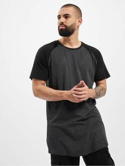 Urban Classics Shaped Raglan Long T-Shirt Charcoal/Black
