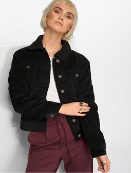 Urban Classics Sherpa Cordury Jacket Black/Black