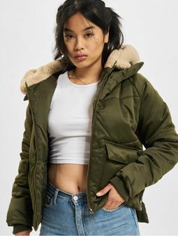 Urban Classics Sherpa Winter Jacket Dark Olive/Dark Sand