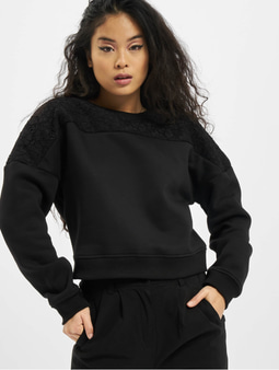 Urban Classics Short Oversized Lace Inset Sweatshirt Black